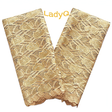 LadyQ Gold Nigerian Lace Fabric 2018 High Quality Swiss Cord Latest Royal Blue Africa