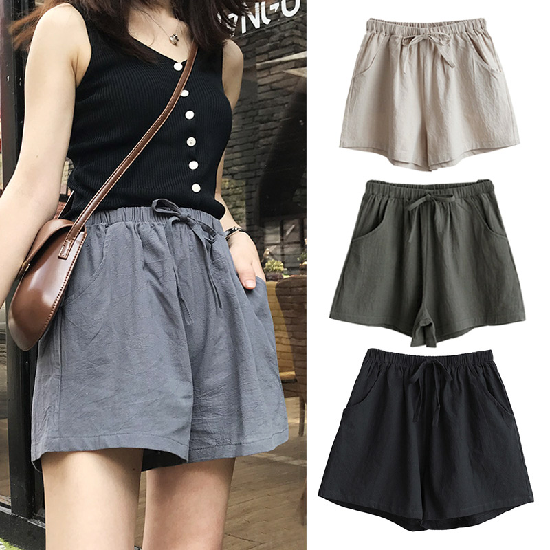 Women High Waist Loose Solid Color Shorts Casual for Summer Sport Running Beach TT@88(China)