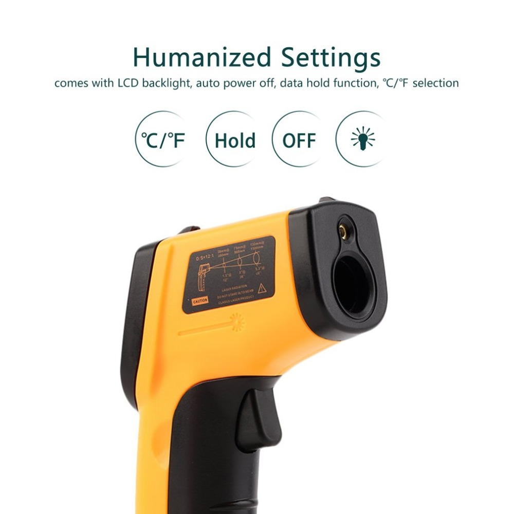 Temperature Sensor Non-Contact Digital LCD Infrared Thermometer Gun IR Laser Point Thermal Infrared Imaging Meter PyrometerTemperature Sensor Non-Contact Digital LCD Infrared Thermometer Gun IR Laser Point Thermal Infrared Imaging Meter Pyrometer