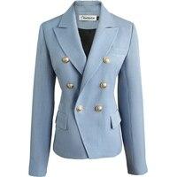 Professional Custom Smog Blue Korean Casual Blazer For Women Slim Fit OL Office Lady Commute Elegant Suit Coat High Quality