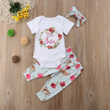 Matching Big Sister and Baby Girl Flower Summer Shirt Pants Set