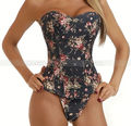 Black Vintage Floral Demin Corset Flowers Lace up Jean Basque Sexy Costume S M L XL 2XL