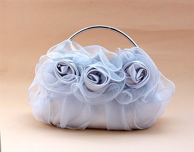 Silver Chinese Women's Satin Wedding Evening Bag Clutch handbag Bride Party Makeup Bag Purse Free Shipping 03850-C
