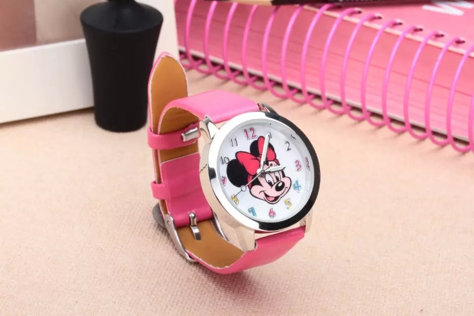 Fashion Popular Children hello kitty  Mickey Cartoon Casual Kids Leather Lovely Wrist Watch 2017 hello kitty cartoon watches kid girls leather straps wristwatch children hellokitty quartz watch montre enfant