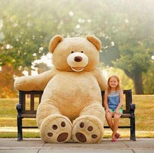 Cheap 200CM 78''inch giant stuffed teddy bear big large huge brown plush soft toy kid children doll girl Birthday Christmas gift pink cartoon teddy bear plush toy stuffed bear huge 200cm soft doll fillings toy hugging pillow christmas gift b2807