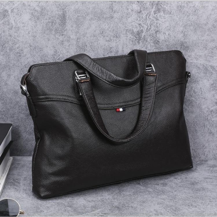 Porte-documents en cuir véritable sacoche pour ordinateur portable pour 14 pouces sac à main de mode ordinateur Messenger sacs