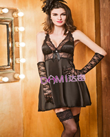 Brand Top Grade Sexy Lingerie Women Silk Pajamas Black Pink Lace Chemises With Gloves Valentine Gift