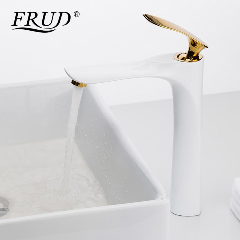 FRUD Newly Elegant Tall Bathroom Basin Faucet Golden White Basin ...