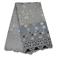 The Latest 2016 High Quality French Guipure Sequin Voile French Lace Fabric Free Shipping