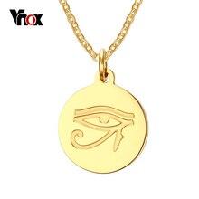 """Vnox el ojo de horus collar de acero inoxidable chapado en oro de joyería de las mujeres collares y colgantes envío 20 """"cadena"""