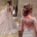 Свадебные платья Noiva сшитое белого кружева с длинным рукавом платье 2015 А линии невесты платья платья романтический женщин