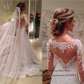 Vestidos de Noiva Custom Made branco rendas vestido de manga comprida 2015 uma linha de Vestidos de Noiva Vestidos de mulheres