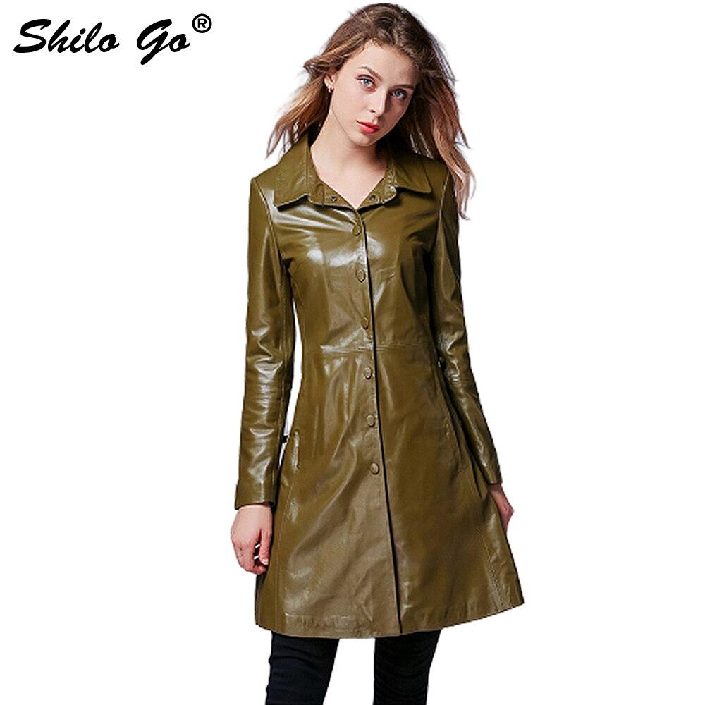 Shilo Vert Long Femmes Longues Véritable Aller Manches Cuir À Mode Peau En Manteau Automne Poitrine Laple Mouton Unique De UIUqpPwrx