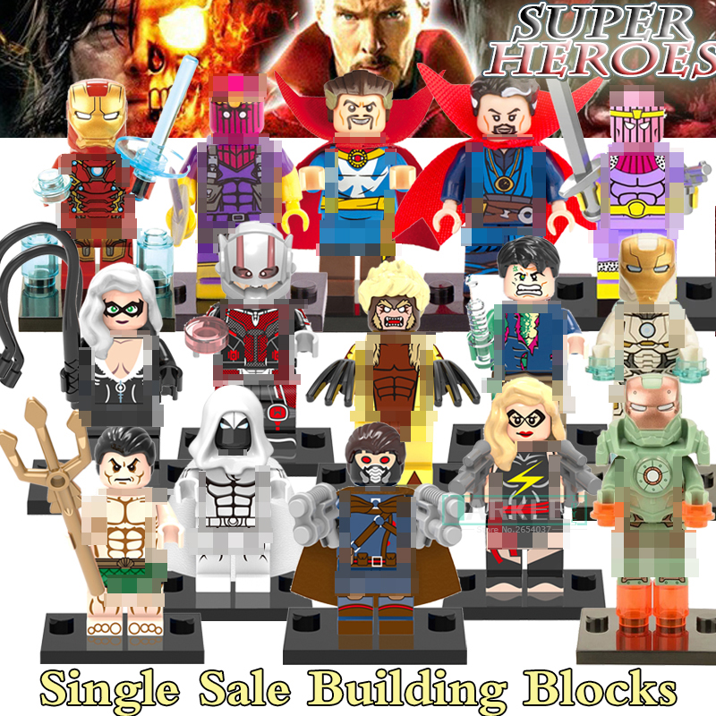 Building Blocks Doctor Strange Figures Baron Iron Man Sabretooth Hulk Catwoman Black Cat Super Heroes Avengers Bricks Kids Toys