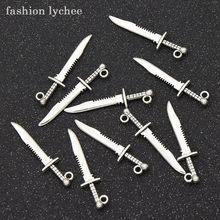 Pingente tibetano de prata, pingente para colar, espada, tibetano, 10 peças