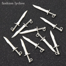 Knife-Sword Bracelet Necklace Charms Beads Jewelry-Making Pendant Diy Tibetan Silver