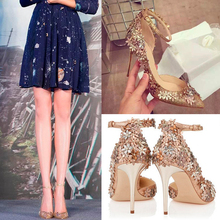 2016 spring and Autumn Women's Pumps Gold Thin Heels High-heeled Shoes Woman Flower Belt Pointed Toe Party Wedding Shoes Pumps