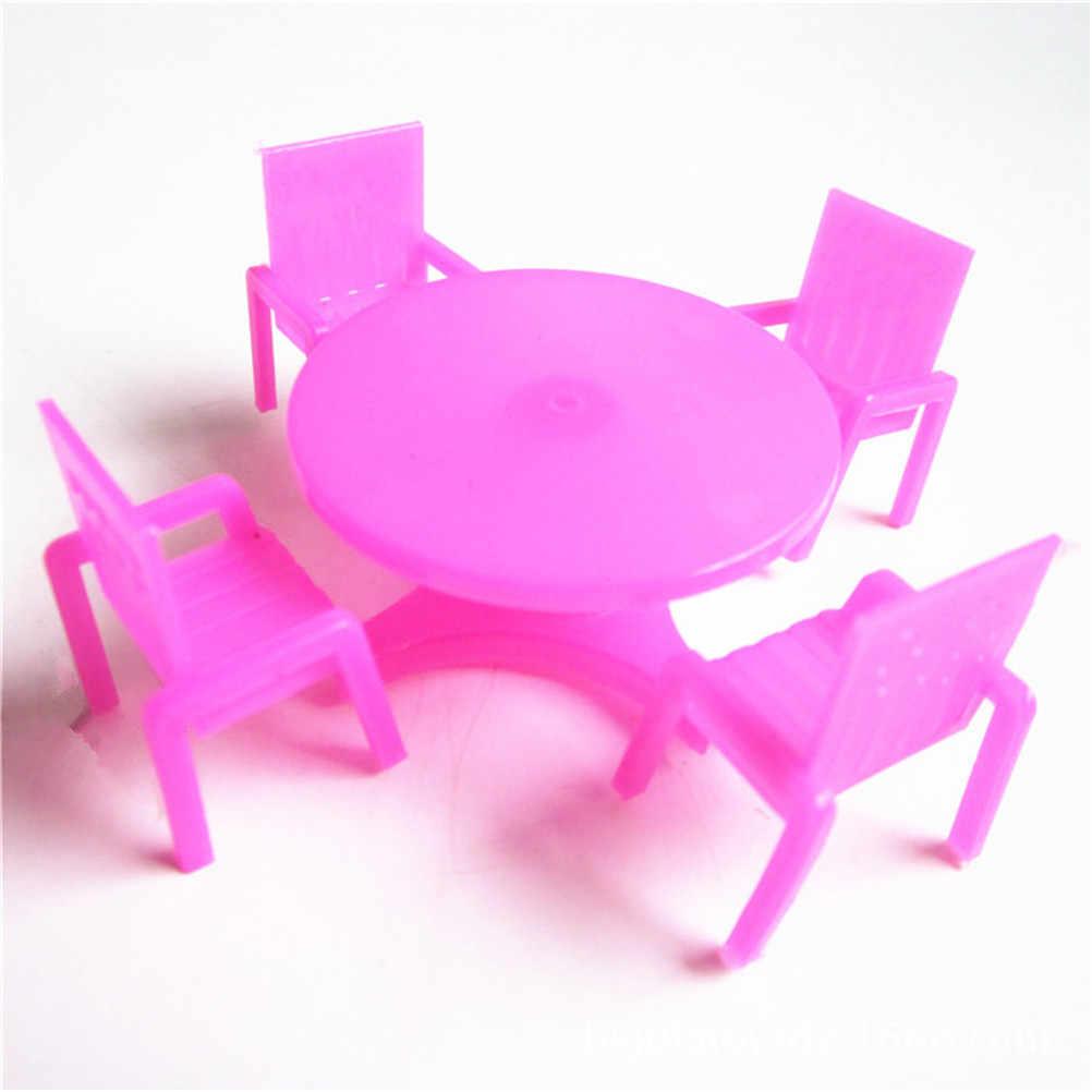 1 Set (4 Cadeiras + Mesa 1) rosa Cadeira de Jantar Mesa Conjunto de Móveis Para Casa de Boneca Casa De Bonecas Em Miniatura De Alimentos Da Cozinha Móveis Brinquedos