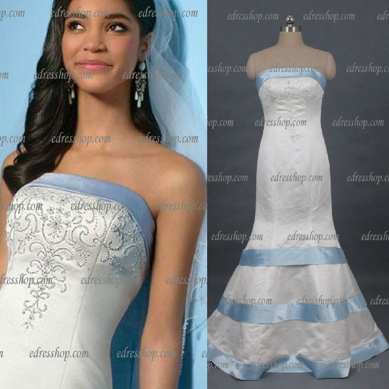 Strapless Trumpet Beaded Back Buttons Bow Satin Light Blue Trim ...