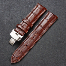 LPWHH Watchband Leather 14 16 18mm 20mm 22mm 24 Black Brown SS Metal Butterfly Buckle Waterproof Genuine Strap For Watch