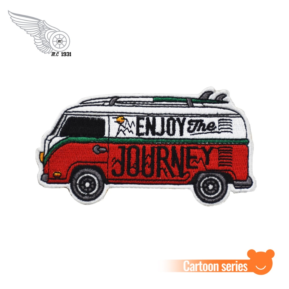 Journey <font><b>Bus</b></font> Embroidered <font><b>Patches</b></font> For Clothing DIY Style Car Pattern Decoration image