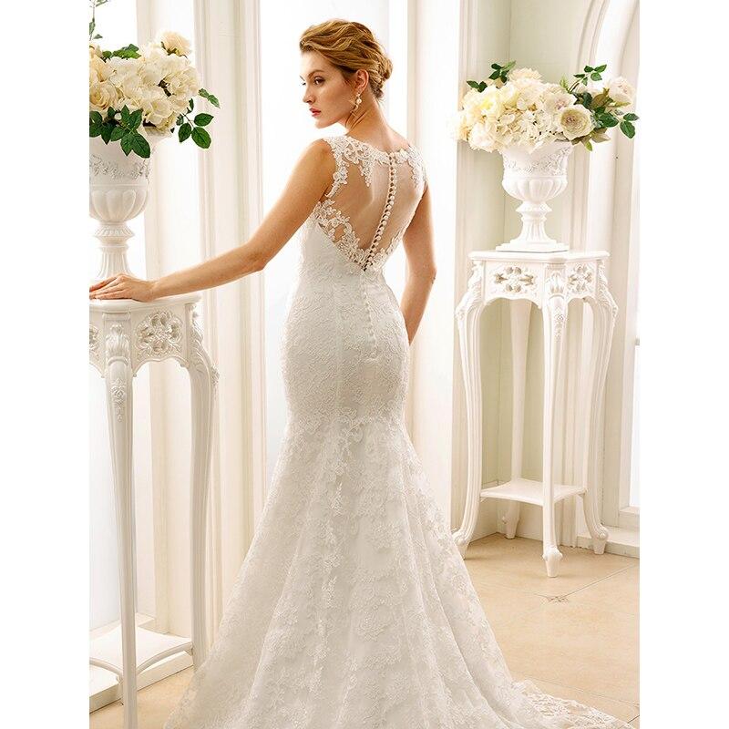 LAN Ting невесты русалка свадебное платье Трубы глубоким декольте суд Поезд Кружево свадебное платье с аппликациями Пуговицы