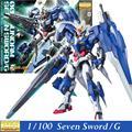 Дабан Gundam Модель MG 00 GN-0000/7 S Семь Меч/G 1/100 Мастер Классе Собрались Хобби Фигурки роботы пластиковые вентиляторы игрушки