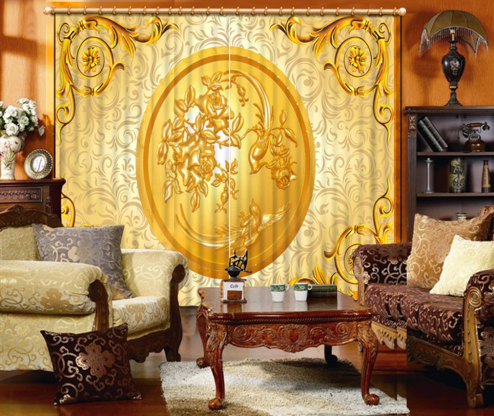 High Quality Costom 3D Curtain Golden carving pattern Curtain Living Room Blackout Shade Window Curtains 3D BathroomHigh Quality Costom 3D Curtain Golden carving pattern Curtain Living Room Blackout Shade Window Curtains 3D Bathroom