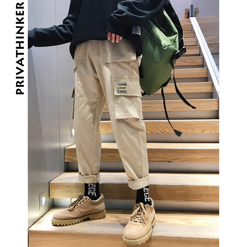 Privathinker Overalls Joggers-Pants Khaki-Pockets Hiphop Vintage Male Korean-Fashion