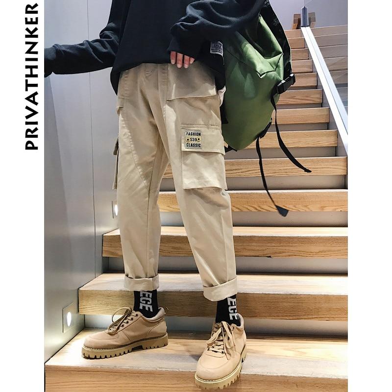 Privathinker Men Vintage Cargo Pants 2020 Mens Hiphop Khaki Pockets Joggers Pants Male Korean Fashion Sweatpants Winter Overalls