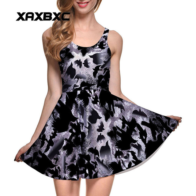 444023bbdbea5 US $12.6 30% OFF| XAXBXC Plus Size Fashion Women Summer Reversible Pleated  Dress Sexy Gril Vest Skater Dress Halloween Death Black Crow Prints-in ...