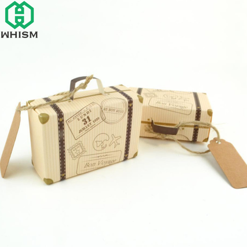 WHISM 50PCS Paper Party Favor Gift Boxes Kraft Paper Candy Storage Box Travel Airplane Suitcase Wedding Souvenirs Packaging Box image