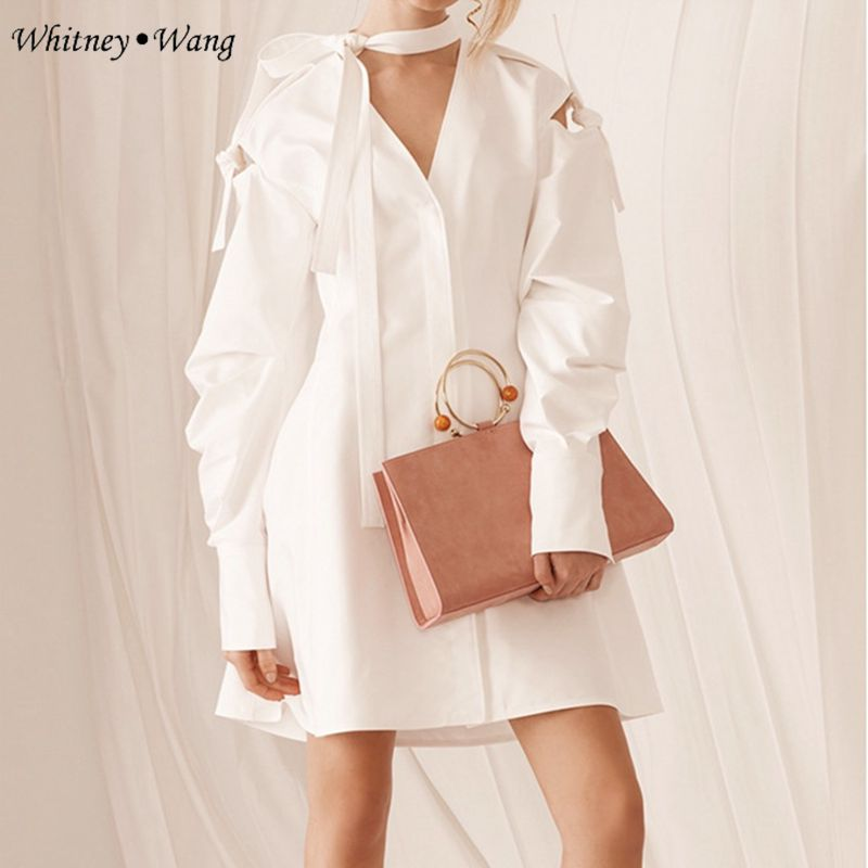 Casual 2017 Mode Femmes Blouse Streetwear À Chemise Manches Automne Robe Wang cou Évider V Whitney Arc 6wqB1O