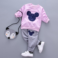 Lovely baby girls boys catoon cotton sweater +trousers set fashion summer kids casual clothing children's sport clothes 17A801