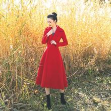 Винтажный стиль, красные длинные пальто feamle с длинным рукавом, тонкая элегантная шерстяная верхняя одежда, осень-зима, новые модные куртки, топы gx1648