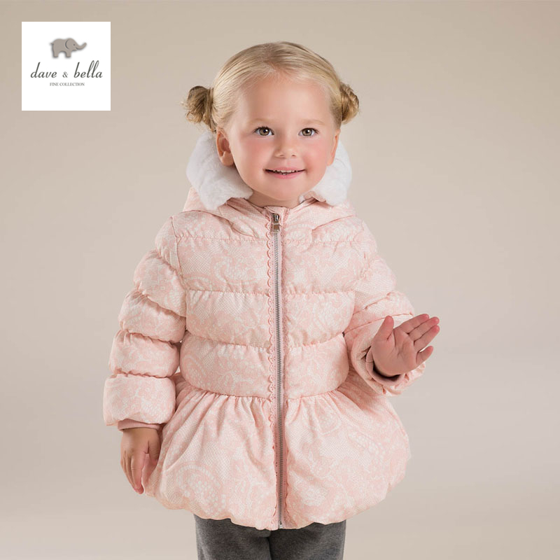 цена на DB4088 dave bella baby girls padded clothing  hooded padded coat outerwear kids down jacket