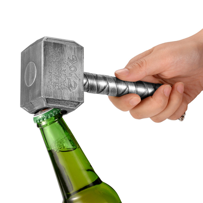 JINJIAN Silber Bier Flasche Dosenöffner Multifunktions Hammer Von Thor Geformt Bier Flasche Opener Mit Lange Griff Abfüller Opener