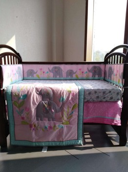 7pcs Embroidery Bedding Set High Quality Baby Crib Set Comfortable Baby Cot Set,include(4bumpers+duvet+bed cover+bed skirt)