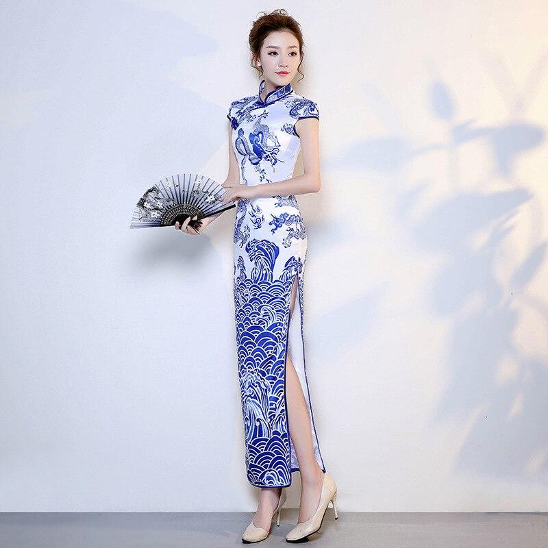 Satin Cheongsam Blue White Porcelain Chinese Wedding Qipao 2019 Fashion Long Chinese Traditional Dress Women Party