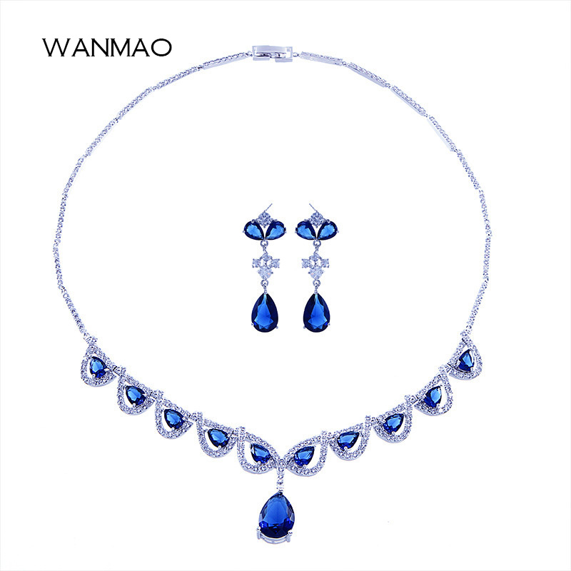 Simple blue rhinestone drop-shaped pendant bride necklace dress with temperament earrings jewelry two-piece suit TA171 цена 2017