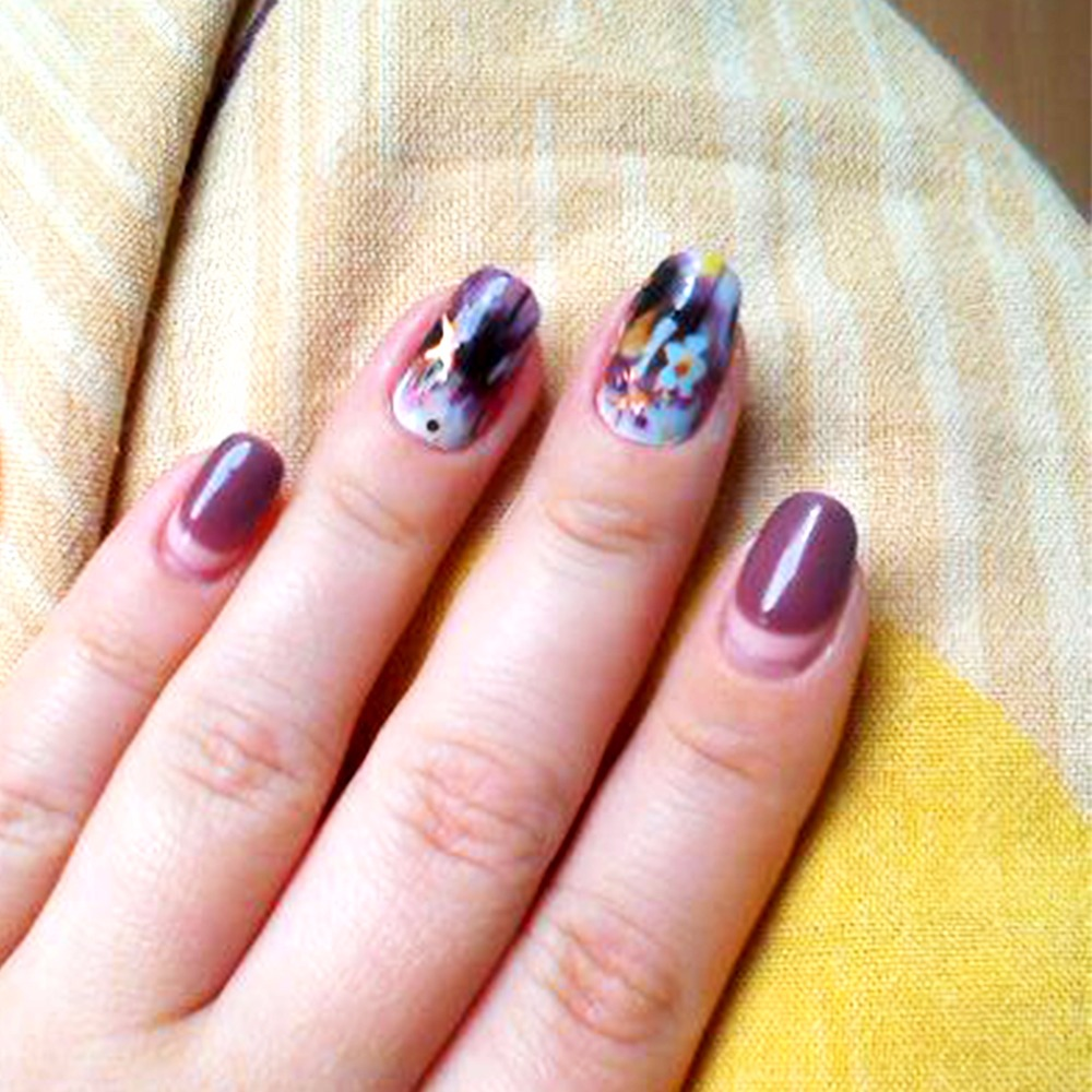 Zko 2 Patternssheet Purplepink Flower Nail Art Water Decals
