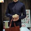 Szyid brand clothing primavera informal cottonslim aptos de la manera solid camisa de los hombres de oxford de manga larga turn down camisa de cuello b0024