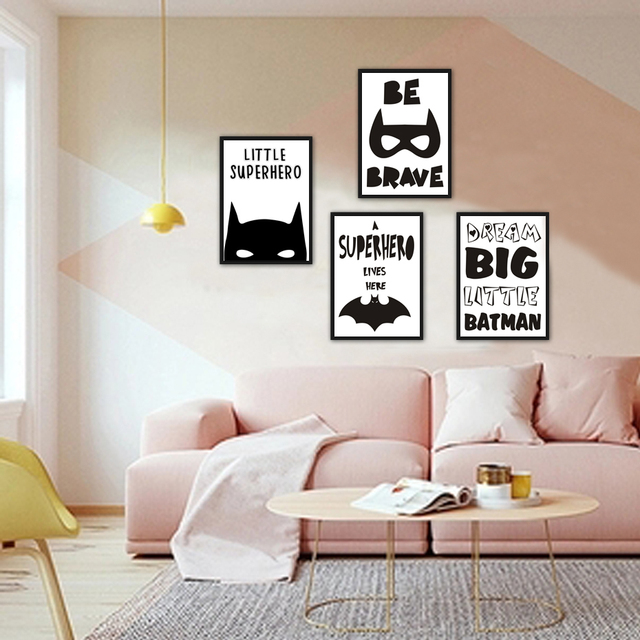 wall art for the office. Superhero Batman Canvas Painting Inspiring Quotes Wall Art Pictures Nordic  Pop Poster Print For Office Living Wall Art For The Office