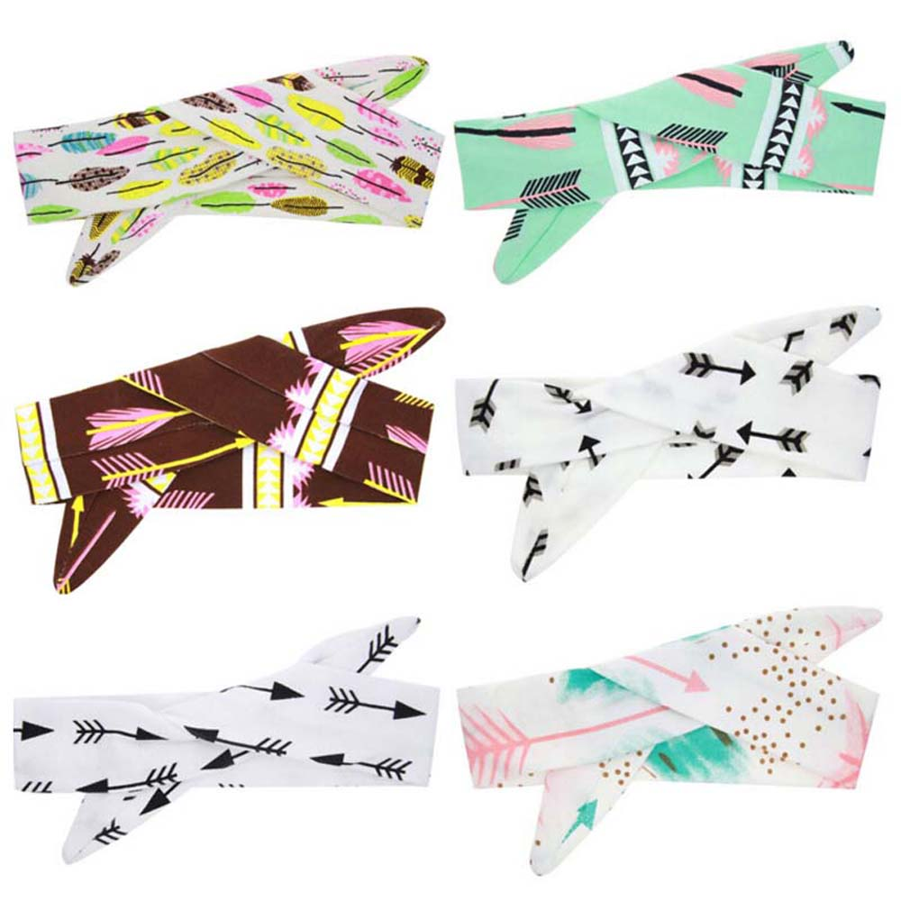 1PC DIY Fashion Cute Girls BowKnot Floral Headband Rabbit Ear Hairband Feather Arrow Print Hair Band Accessories 1 pc women fashion elastic stretch plain rabbit bow style hair band headband turban hairband hair accessories