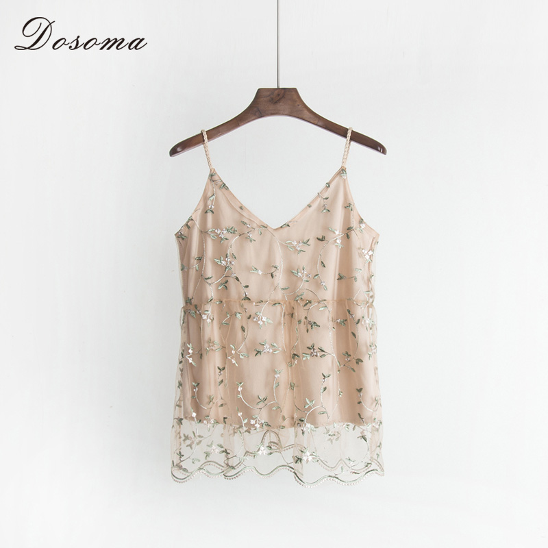DOSOMA Lace Strap Tank Tops Women 2018 Summer Sexy Floral Embroidery top Female Sleeveless Camiso Letransparent Lingerie