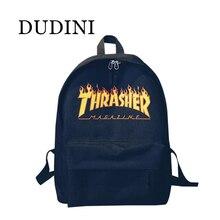 DUDINI Unisex Backpack American Skateboard Oxford Backpack Thrasher Shoulders Bag Fashion Style Men Backpack Mochila