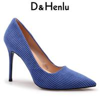 D&Henlu Spring Women Shoes Heel Shoes Woman Pointed Toe Heels High Heels Sexy Blue Heel Shoe For Women Stilettos Zapatos Mujer