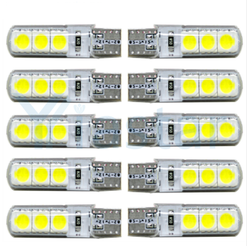 500PCS 12V T10 5050 6 SMD 194 168 W5W SILICA License Plate Light Clerance Car Auto Lamp Car Lights Mix Colors DC 12V