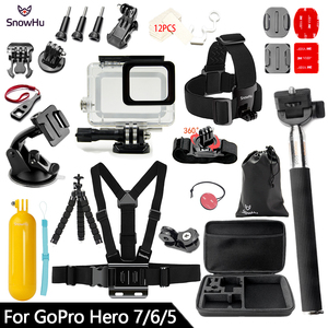 Image 1 - SnowHu for Gopro 7 Accessories Set Waterproof Housing Protection case Tripod Monopod for Gopro hero 7 6 5 Sport Camera GS73