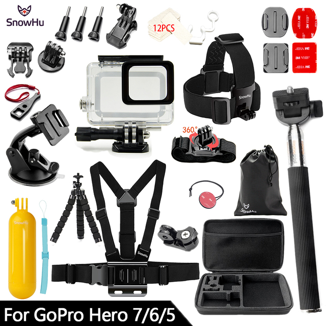SnowHu for Gopro 7 Accessories Set Waterproof Housing Protection case Tripod Monopod for Gopro hero 7 6 5 Sport Camera GS73